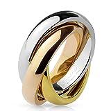 Autiga Ring Edelstahl Damen Herren Tricolor Triple Dreierring 3 in 1 silber-gold-rosegold 57 - Ø 18,14 mm