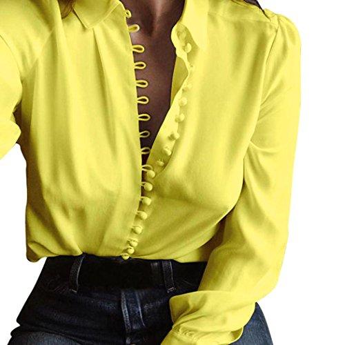 FORH Damen Casual Einfarbig Hemd Reizvolle langarmshirt einreihig Bluse Casual Longshirt Cardigan Revers T-Shirt Viele modische Farben! Größen S-2XL wählbar (XL, gelb) (Spitze Rote Spitze-gelbe)