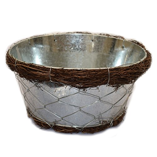 19,5cm rund Metall Korb, verzinkt, Übertopf mit Net, und Salim Top, ideal auch für Geschenk Körbe, für Purim, Jahrestag Geschenk, Geburtstagsgeschenk und mehr.. Clearance..
