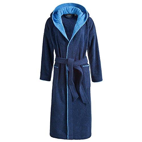 Egeria Cairo Bademantel Saunamantel mit Kapuze für Damen & Herren in 4 Farben, 100% Baumwolle, Gewicht: 360 g/m² (XXL, 385/326 Dark Blue/Atlantic Blue) - Damen Zweifarbige