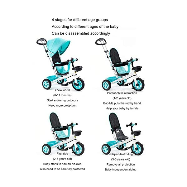 BGHKFF 4 In 1 Children's Hand Push Tricycle 8 Months To 6 Years Adjustable Handle Bar Children's Pedal Tricycle Folding Sun Canopy Blockable Rear Wheels Childrens Tricycles Maximum Weight 90 Kg,Blue BGHKFF ★Material: High carbon steel frame, suitable for children from 8 months to 6 years old, maximum weight 90 kg ★ 4 in 1 multi-function: can be converted into baby strollers and tricycles. Remove the hand putter and awning, and the guardrail as a tricycle. ★Safety design: golden triangle structure, safe and stable; guardrail; rear wheel double brake 2