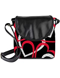 Snoogg Colorful Hearts Black Pattern Womens Sling Bag Small Size Tote Bag