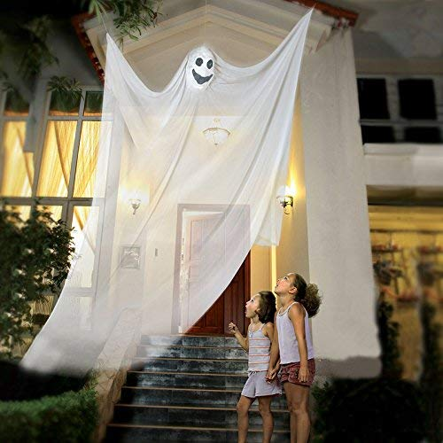 Halloween-hängende Geist-Stütze, die Skeleton fliegenden Geist, Halloween hängende Dekorationen für Yard im Freien trägt Innenpartei-Stange, 3.3m lang (Weiß)