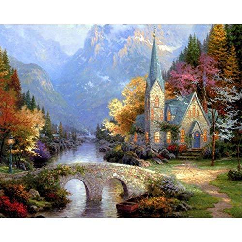WYTCY Ländliche Landschaft DIY Malen Nach Zahlen Acrylfarbe Auf Leinwand Malvorlagen Für Hauptwandgrafik 40x50cm
