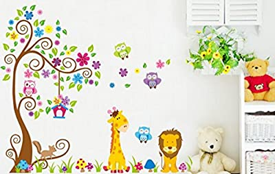 Rainbow Fox Wandtattoo Wandsticker Eule Baum Giraffe L?we Kinderzimmer Baby
