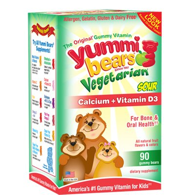 Yummi Bears Vegetarian Calcium with Vitamin D, Natural Fruit Flavours, 90 Sour Gummy Bears