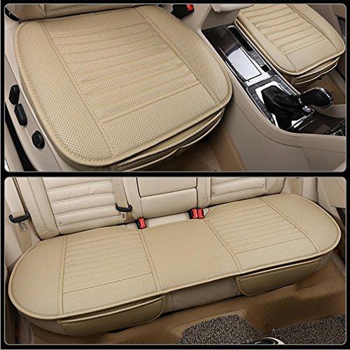 LPY-Auto-Sitzkissen, Auto-Sitzbezüge [Leder] Atmungsaktives bequemes Auto-Kissen, Autositz-Schutz , Beige