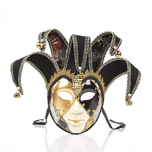 UK_Stone Venezianische Maske Masquerade Maske Halloween Karneval Maske für Damen und Herren Karo Muster, Schwarz