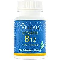 Vitamin B12 Vegan hochdosiert 1000 mcg Methylcobalamin 180 Tabletten ohne Magnesiumstearat von VELLVIE