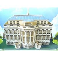 """PUZZLE 3d: interamente in Legno - CASA BIANCA U.S.A. - Crea da te un oggetto tridimenzionale da decorare o lasciare grezzo - Composta da ben 4 Compensati pre-ritagliati - """"Costruiamo la Casa Bianca 3d interamente legno - Difficoltà MEDIA per Bambini >8anni"""