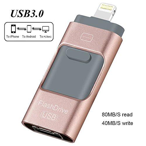 iPhone USB Flash Drives 128GB IOS External Storage USB 3.0 Jump Drive 3-in-1 Lightning Memory Storage Pen Drive, Encrypted Flash Memory Stick for IOS Android PC Computer (128GB, Rose Gold) Series-usb-flash-laufwerk
