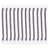 BIHRTC 12 Stück LED Stripe Streifen Steckverbinder Verbindungskabel Anschlusskabel Verbinder DIY 4 Pins 10mm Schnellverbinder Schneller Splitter 12V Clip für 5050 RGB 4 Leiter Led Streifenverbinder