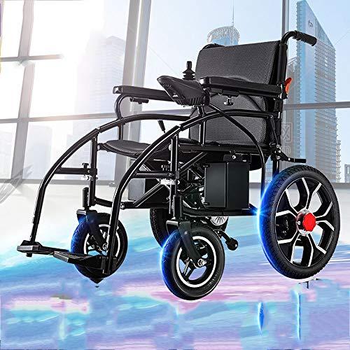 Ultraleichter Faltbarer Elektrischer Rollstuhl, Intelligente Automatische, Frei-Reiten, Elektro-Rollstuhl (Schwarz)