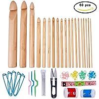 BENECREAT 19PCS Ganchos de ganchillo de bambu con 41 piezas de tejer accesorios, 60 piezas en total - Ideal para ganchillo, encaje, tapetes y proyectos de flores