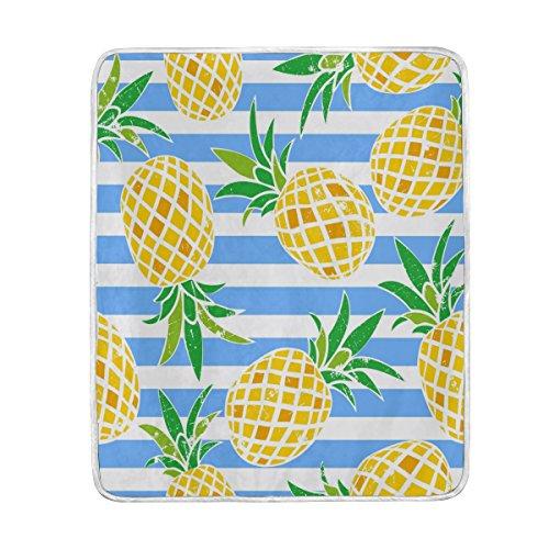 Use7 Home Decor Vintage Ananas Obst Gestreifte Decke weich warme Decken für Bett Couch Sofa Leichtes Reisen Camping 127 cm x 152,4 cm Überwurf Größe für Kinder Jungen Damen -