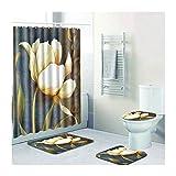 Knbob Badezimmerteppich 4 Set Beauty Blumenmalerei Stil 10 Wc Teppich Toilette 45X75Cm