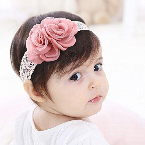 Kercisbeauty Handgefertigtes Haarband für Babys und Kleinkinder, weiches Tuch mit Spitze, Rosa