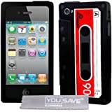 Yousave Accessories iPhone 4 / 4S Case Black and Red Retro Cassette Tape Silicone Gel Cover