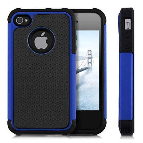 kwmobile Hülle für Apple iPhone 4 / 4S - Hybridhülle Dual Case Handy Schutzhülle TPU Silikon - Hybrid Cover Blau Blau