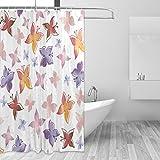 COOSUN Schmetterlinge Muster-Druck Duschvorhang, Polyester-Gewebe Badezimmer Duschvorhang, 66 x 72-inch 66x72 Mehrfarbig
