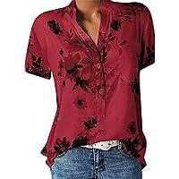 Tops de Moda Imprimir Camisa cómoda Casual Camisa de Manga Corta con Cuello en V de Moda