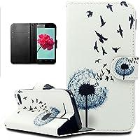 Ikasus - Funda para Wiko Lenny 2, diseño con plumas y pájaros, piel sintética con tapa de cartera con silicona flexible de poliuretano termoplástico y función atril, cierre magnético y bolsillos para tarjetas de crédito
