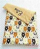 Bären Babydecke Decke mit kuscheligen hellbraunen Plüsch Minky, Personalisierung mög.