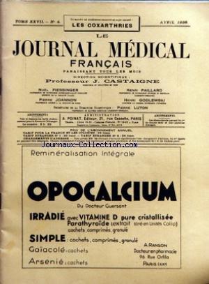 JOURNAL MEDICAL FRANCAIS (LE) [No 4] du 01/04/1938