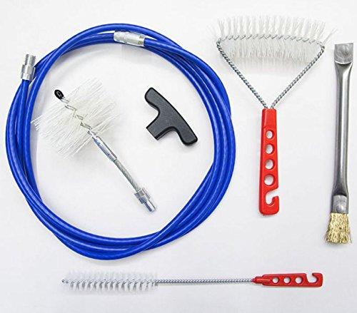 Kit FULL 3 mt professionale pulizia canna fumaria tubo stufa pellet metri : manico, scovolo nylon pellet 80 mm plus snodato, scovolino stufa. INCLUDE spazzola ottone per bracere e spazzola nylon pareti stufa.