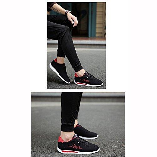 XIAOLIN Scarpe Da Uomo Nuovo Sportivo Versione Coreana Nero Scarpe Da Corsa ( Colore : Nero , dimensioni : EU39/UK6/CN39 ) Rosso