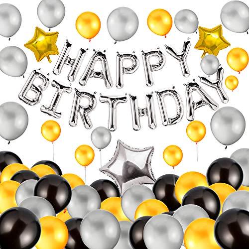 Vegkey Deko Geburtstag Dekoration Set, Geburtstag Dekoration Luftballons, Folienballons Happy Birthday Ballons Banner + 100 Stück Große Geperlte Ballons + 3 Folie Sterne Ballons + 1 Farbband.