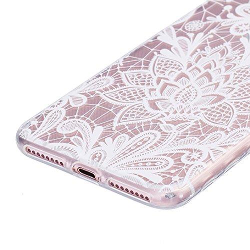 Pheant® [4 in 1] Apple iPhone 7 Plus (5.5 pouces) Coque Gel Étui Housse de Protection Transparent Cas avec Verre Trempé Protecteur d'écran Stylet Bouchon Anti Poussiere Rose Blanc