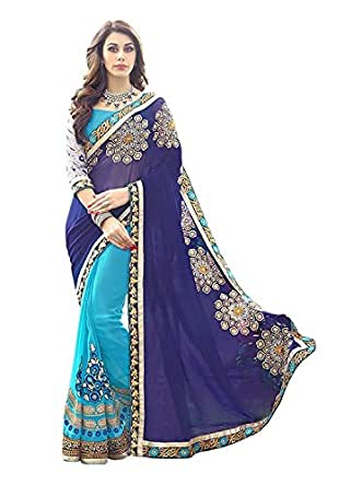 Ambika Sarees Collection Embroidered Blue And Sky Half And Half Georgette Saree With Blouse Material