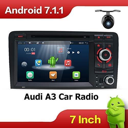 2G-RAM Android 7.1 7 pouces Quad Core Double DIN voiture stéréo Radio HeadUnit Navigation GPS pour Audi A3 (2003-2011) Soutien 4G/DAB/Bluetooth/Mirror Link/Wifi/SWC/AV-OUT/AUX-IN gratuit CANBUS&Caméra
