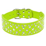COLL Hundehalsband Strass Leder Hundehalsbänder Für Große Hunde Sparkly Kristall Diamanten Nieten Hundehalsbänder Für Mittlere bis Große Hunde Pitbull S Grün