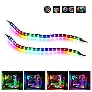 Adressierbarer LED Streifen, Speclux RGB LED Strip Magnetisch PC Beleuchtung Innenbeleuchtung, 5V 3-Pin-ADD-RGB, Kompatibel mit Asus Aura, Asrock RGB-LED, Gigabyte-RGB-Fusion, MSI Mystic Light