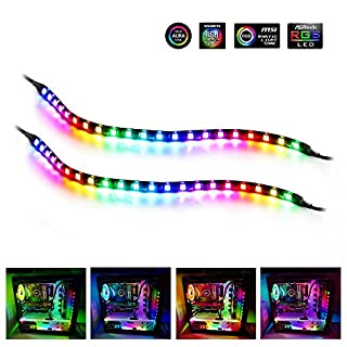RGB Led Strip, Speclux PC Light Strip with Magnet & Double-Faced Adhesive, 35cm, 5V 3pin ADD RGB, Compatiable with Asus Aura, Asrock RGB Led, Gigabyte RGB Fusion, MSI Mystic Light