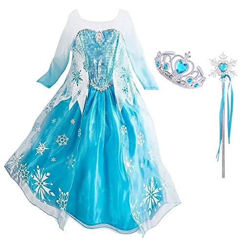 Monissy Mädchen Prinzessin ELSA Kostüm für Karneval Kinder Fasching Eiskönigin Cosplay Kostüm Set Krone Zauberstab Glanz Blau Schneeflocke Umhang Frozen Verkleidung Party Geburtstag