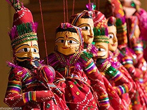 buycrafty 1Paar Rajasthani Indian Puppets Dekorative Decor Home Decor Kathputli Rare