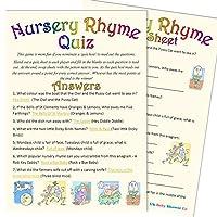 Baby Shower Game - Nursery Rhyme Quiz (20 Guest Pack)