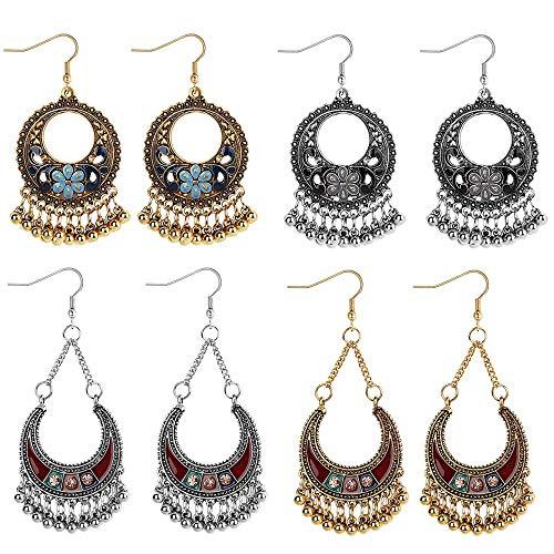 YADOCA 4 Paare Anhänger Hippie Ohrringe für Damen Mädchen Boho Retro Ethnic Tribal Hohlen Legierung Ohrringe Mode Schmuck