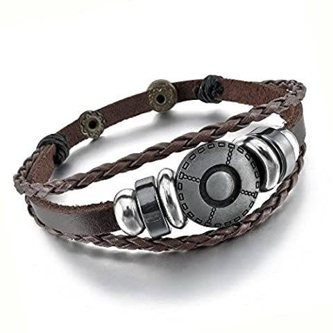 Mens Vintage Brwon Leather Braided Bracelet Intermediate Circular Iron Ring Bead