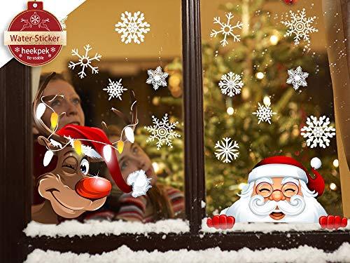 heekpek Netter Weihnachtsmann Weihnachten selbstklebend Fensterdeko Weihnachtsdeko Sterne Weihnachts Rentier Aufkleber Schneeflocken Aufkleber Winter Dekoration Weihnachtsdeko Weihnachten Removable
