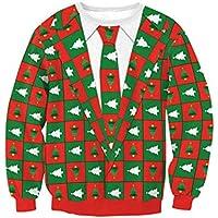 SWEAAY Suéter De Navidad O-Cuello Pullover Sudadera Pareja Navidad Patrón De Dibujos Animados Retro Jumper Suéter Casual Top, como Muestra La Imagen, M