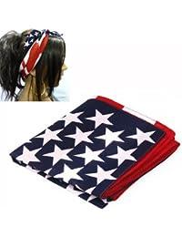 SODIAL(R) Bandeau de cheveux de drapeau americain Bleu et Rouge