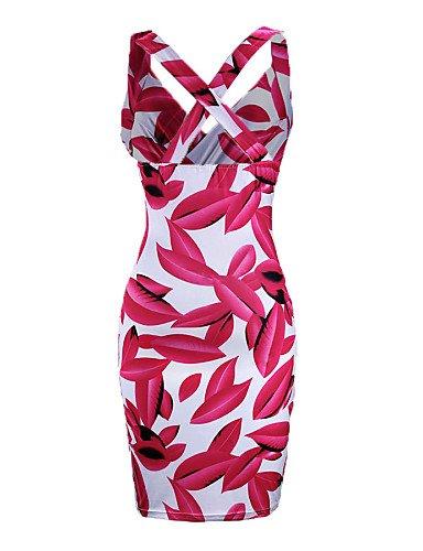 PU&PU Robe Aux femmes Gaine Sexy,Fleur A Bretelles Au dessus du genou Polyester / Nylon / Spandex RED-S