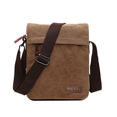 Super Modern Leinwand Messenger Bag Umhängetasche Laptop Tasche Computer Tasche Umhängetasche aus Segeltuch Tasche Arbeiten Tasche Umhängetasche für Männer und Frauen, Herren, Coffee Small