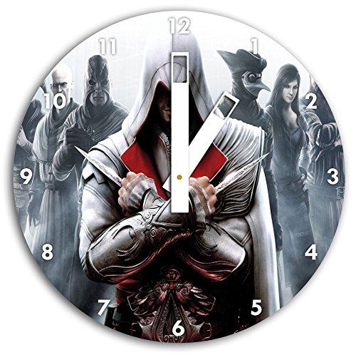 Asesinos credo de imagen en blanco reloj de pared con embotan las manos y la cara, de 30 cm de diámetro, decoración perfecta para su hogar, idea regalo estupendo para jóvenes y mayores