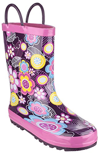 Cotswold Girls Puddle Patterned Rubber Welly Wellington Boot White Flower
