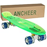 Ancheer Mini-Cruiser-Skateboard 55cm Skateboard mit oder ohne LED Deck,alle mit LED Leuchtrollen,Farbe:Deck in Grün ohne LED / Rollen in Blau mit LED